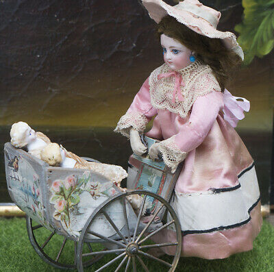 Antique French Mechanical Toy Walking doll w/Carriage and 2 mignonette by Vichy