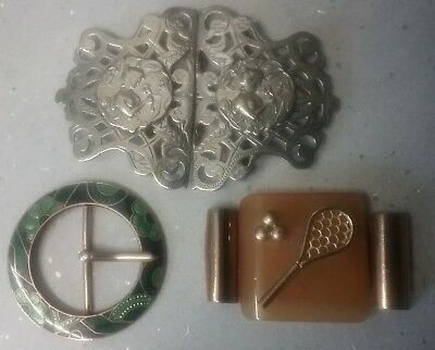 3 Vintage Belt Buckles Art Deco Era Green Flower  Enamel + Tennis + Art Nouveau