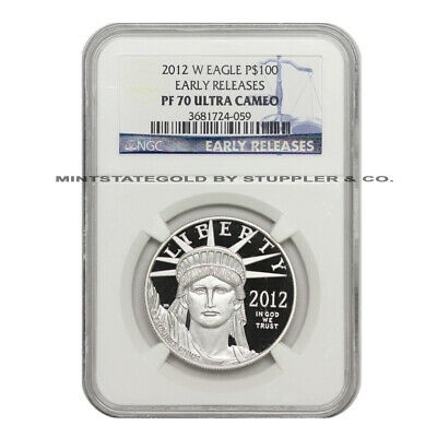 2012-W $100 American Platinum Eagle NGC PF70UCAM Early Releases Bullion Proof