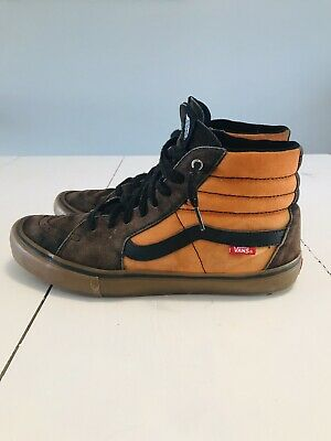 1f3ef5e778 vans sk8 hi pro Men s 11.5 Black Brown Orange Gum Distressed Unique