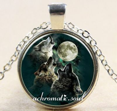 Wolves Pack Howling at Moon Glass Dome Pendant Silver Colour Necklace and Chain