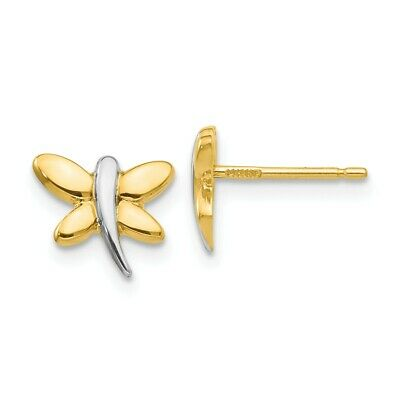 cfa595c92 14k Yellow Gold Dragonfly Post Stud Earrings Ball Button Mothers Day Gifts