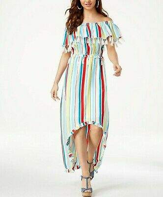 Xoxo Juniors' Striped Tassel-Trimmed High-Low Maxi Dress $69 Size L # 8B 446 N
