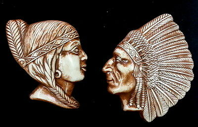 American Indian Native Style Chief and Woman Pair Wall Plaque Sculpture Vintage