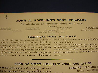 1939 John A. Roebling's Sons Co Catalog Asbestos Wire
