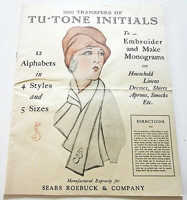 Vintage 1920s Embroidery Transfer Booklet with Unused Patterns Tu-Tone Initials