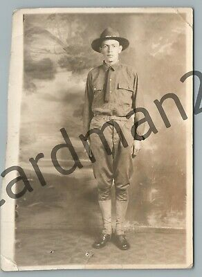 WWI Army Soldier RPPC Friedman's Studio NYC Antique Military Photo 1910s