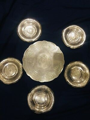 Solid Silver Armenian Turkish Middle Eastern Islamic Persian tray & plates