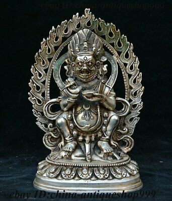 Old China Tibetan Buddhism Temple Silver Mahakala Wrathful Deity Buddha Statue