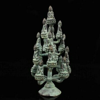 China Ancient temple Pure copper hand-made Five floors Seventeen Buddha stupa