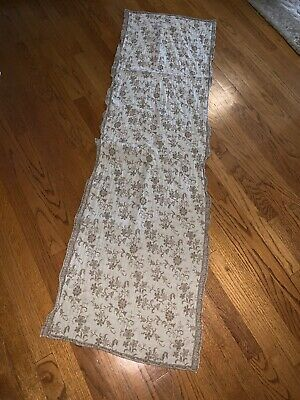 Irish Linen Silky Vines & Flowers Floral Cloth Table Runner Double Sided 64 X 18