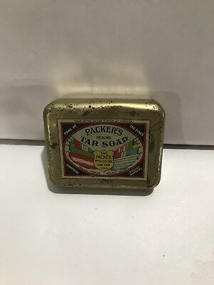 Antique Old Tin Packers Healing Tar Soap Advertising Collectable