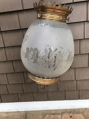 Antique Victorian Brass & Etched Cherub Urns Light Hanging Lamp Chandelier 19c