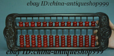 """16"""" Chinese Huali Wood Inlay Red Jade Bead Counting Frame Abacus Statue Antique"""
