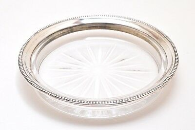 Frank M Whiting Co Antique Glass & Sterling Silver Wine Coaster 4 3/8""