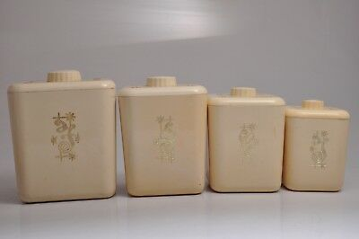 Vintage 1950's RETRO Plastic SQUARE Creme Nesting Canisters Set of FOUR