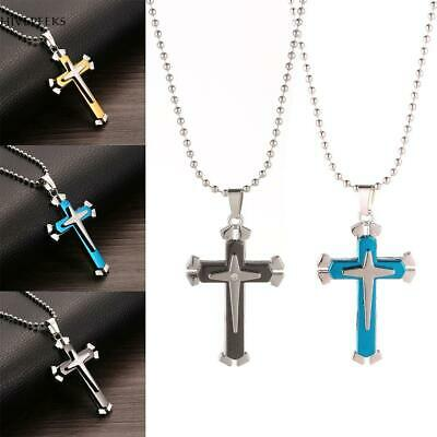 Unisex Titanium Steel Three Layer Cross Pendant with Bead Chain Necklace H1PS