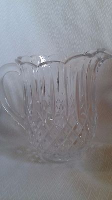 Vintage Lead Crystal Diamond pattern Heavy Pitcher 7 1/2 inches tall