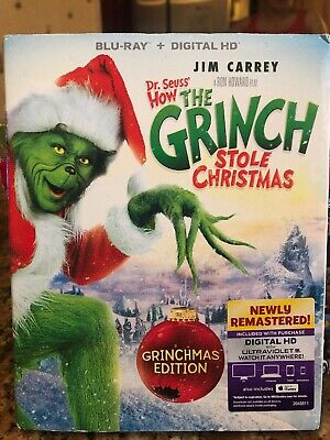 How the Grinch Stole Christmas (Blu-ray Disc, 2015) w/Slipcover Jim Carrey