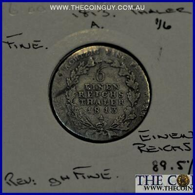 1813 Germany 1/6 Thaler Prussia FINE 89.5 % Silver