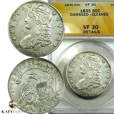 1835 ANACS VF 30 Details Silver Capped Bust Liberty Half Dollar 50c US #20091A