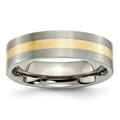 Titanium 14k Yellow Inlay Flat 8mm Wedding Ring Band Size 8.50 Precious Metal 100% High Quality Materials Engagement & Wedding