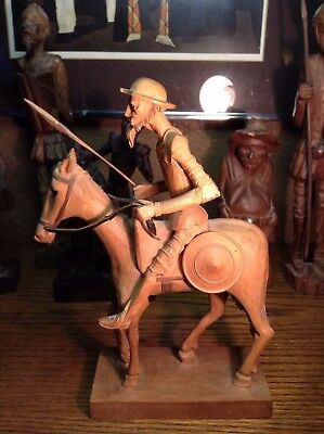 Vintage Wood Sculpture Don Quixote and Horse Rocinante Ouro
