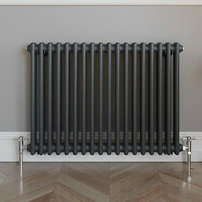 Traditional Colosseum Horizontal Double Bar Radiator 600 x 800mm Anthracite NDT