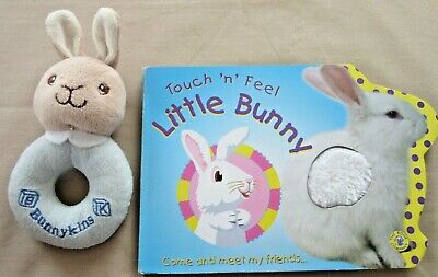 BUNNY BOOK & BUNNYKINS RATTLE - Touch 'n' Feel BOARD BOOK. Plush RATTLE