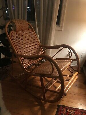 Brilliant Mid Century Modern Rattan Rocking Chair 200 00 Picclick Gmtry Best Dining Table And Chair Ideas Images Gmtryco