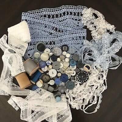 Vintage Sewing Items Crochet Edge Piece Cotton Reels Buttons Lace Blue