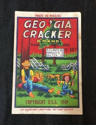 Vintage Chinese firecracker label GEO'GIA CRACKER BRAND (16); no cracker! fcp180