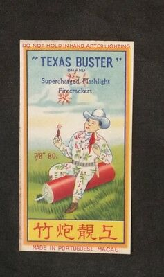 Vintage Chinese firecracker label TEXAS BUSTER BRAND; no cracker!!!  fcp300