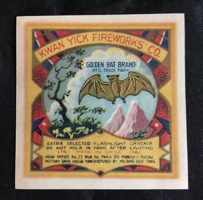 Vintage Kwan Yick Golden bat brand(16) firecracker label; no crackers!!  fcp105
