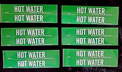 (12 CT) BRADY 7374-4 (109206) HOT WATER Vinyl Stickers. SHIPS FREE.
