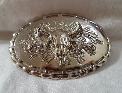 Vintage Steer Skull Belt Buckle W/ 3D Texas Longhorn Cow Head Metal Silvertone