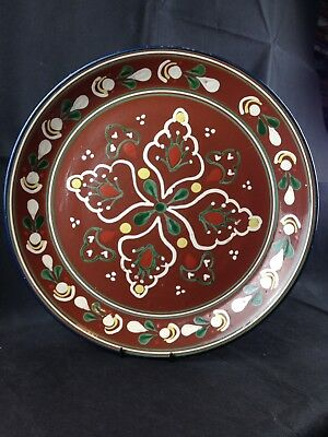 Vintage USSR Russian Hand Painted Folk Art Terracotta Charger Plate