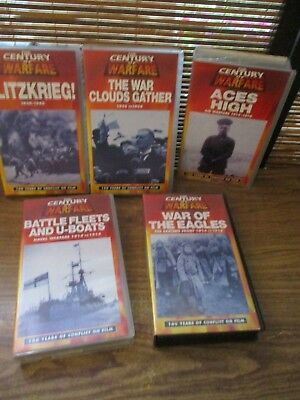 Century of Warfare VHS Video Tapes Set of Five Videos - Blitzkrieg, aces high