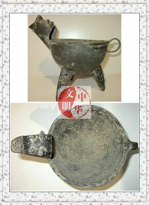NEOLITHIC EGGSHELL WATER VESSEL BLACK POTTERY DogHead BEAST STATUE WINE WARE POT