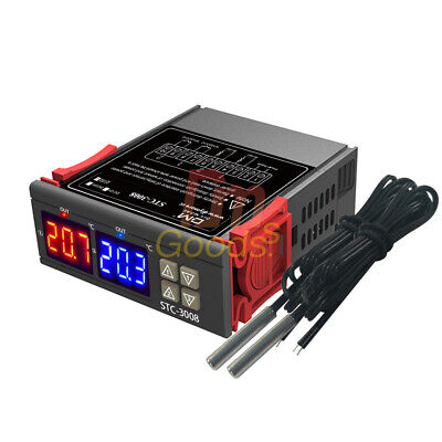 AC 110-220V STC-3008 Dual Display 2-Way Thermostat Temperature Controller Probe