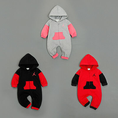 New Baby Jordan Hooded Romper Newborn Toddler Boys Girls Babygrows Outfit Sets