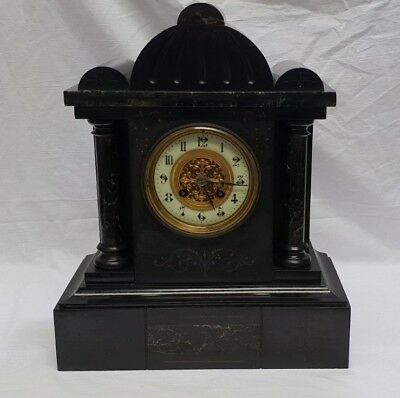 Vintage Black Slate & Marble 8 Day Table Clock with Strike