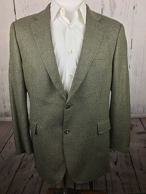 JOS A BANK Mens 43R Brown/Green Houndstooth Blazer Two Button Suit Jacket