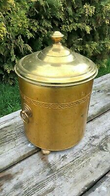 Beautiful Vintage Brass Coal Bucket With Lid And Ringed Handles *
