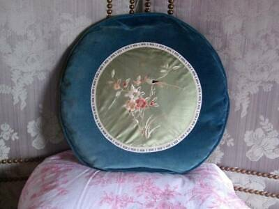 Chinese Embroidery Velvet /Silk Feathered Cushion