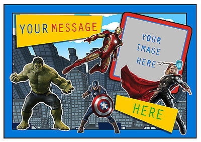 Marvel Avengers Personalised A4 Cake Topper Add Photo/Message Edible Icing Sheet