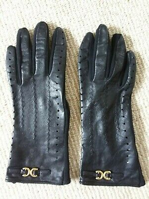 Vintage St Michael M&S Small Black Leather Back Gloves with Stretch Nylon Palms