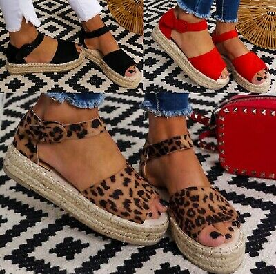 Ladies Womens Flatform Flat Espadrilles Wedge Ankle Summer Sandals Shoes Uk Size