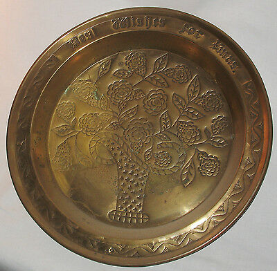 Antique : A gigantic Arts brass Charger / Tray signed Best Wishes for Xmas
