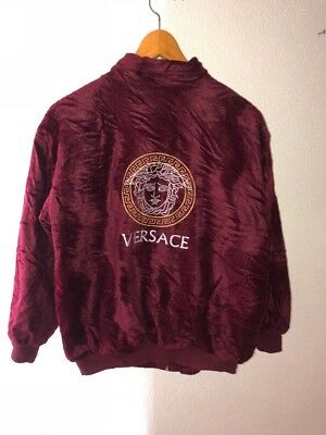 8b79380af5fd15 Versace Jeans Couture Jacket Bomber Velour Vintage Gianni Rare Red 90s